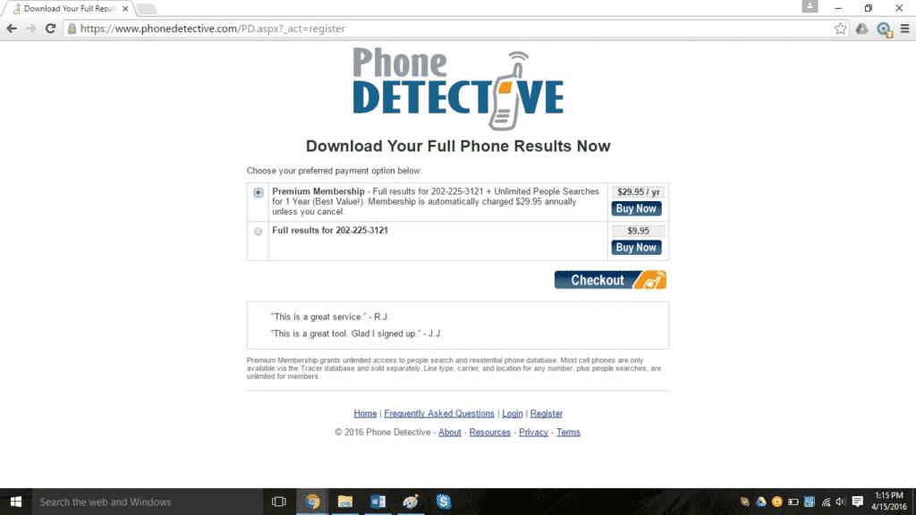 Phone lookup result